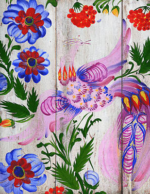 Mixed Media - Russian Folk Art On Wood 10 by Aloke Creative Store