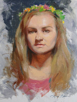 Wreath Painting - Russian Girl by Anna Rose Bain