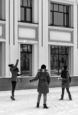 Photograph - Russian Girls Playing With Snowballs by John Williams