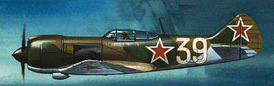 Jet Painting - Russian Lavochkin Fighter by Wilf Hardy