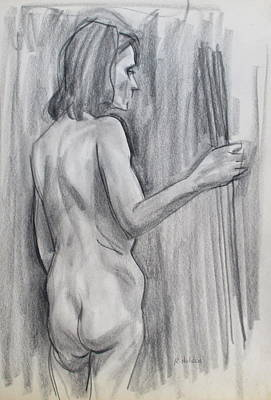 Drawing - Russian Model From The Back by Robert Holden