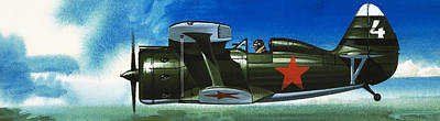 Ww2 Aircraft Painting - Russian Polikarpov Fighter Plane by Wilf Hardy