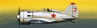 Russian Polikarpov Fighter Art Print by Wilf Hardy