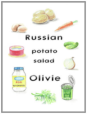 Digital Art - Russian Potato Salad Olivie by Masha Batkova