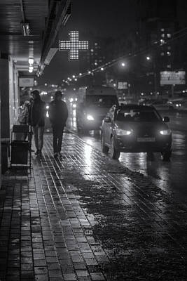 Photograph - Russian Street Scene At Night 2015 by John Williams