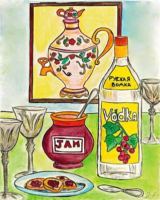 Snack Time Painting - Russian Tea Time With Vodka And Jam by Jenya Katsnelson