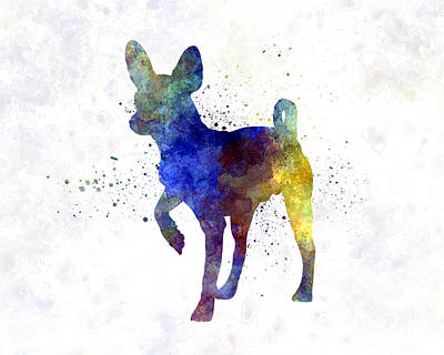 Toy Terrier Painting - Russian Toy 01 In Watercolor by Pablo Romero