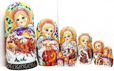 Matryoshka Sculpture - Russian Troika by Viktoriya Sirris
