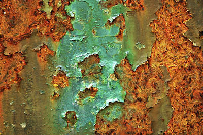 Photograph - Rust And Deep Aqua Blue Abstract by Brooke T Ryan