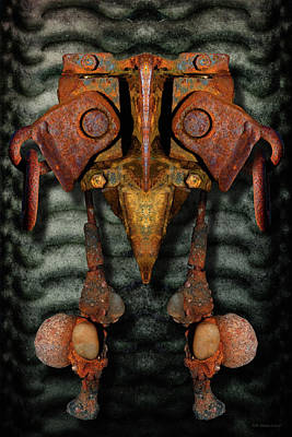 Digital Art - Rust Bone Totem by WB Johnston