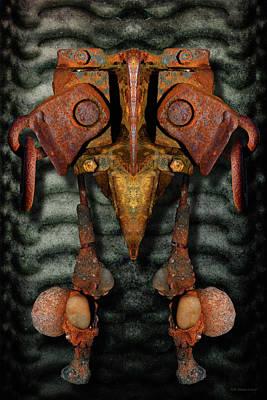 Digital Art - Rust Bone Totem by WB Johnston