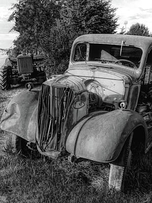 Truck Photograph - Rust Buddies Bw by David King
