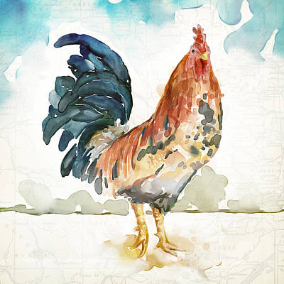 Rust Rooster Print by Mauro DeVereaux