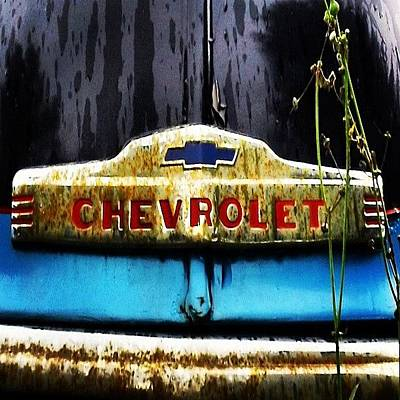 Rust Wall Art - Photograph - #rust #rusty #vintagecar #emblem #chevy by John Robinson