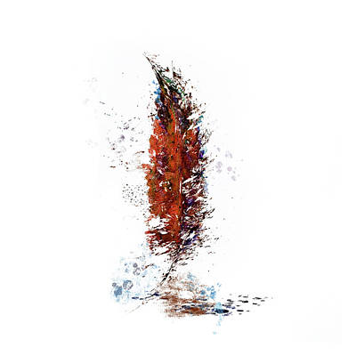Painting - Rust Watercolor Feather by Christina VanGinkel