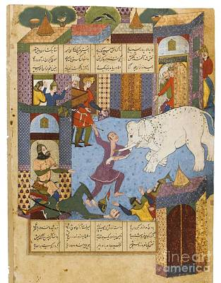 Safavid Persia Painting - Rustam And The Mad Elephant by Celestial Images