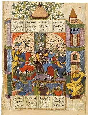 Safavid Persia Painting - Rustam Reporting His Victory To Kay Khosrow by Celestial Images