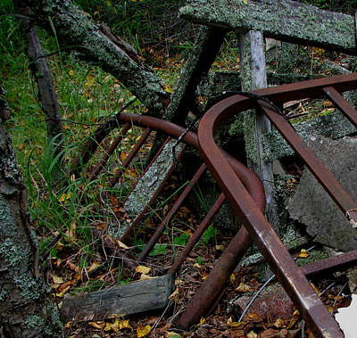 Rusted Bed Frame At Jackfish Ontario Art Print by Laura Wergin Comeau