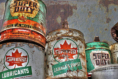 Photograph - Rusted Oil Cans by Nina Silver