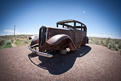 Photograph - Rusted Old Car On Route 66 by Robert J Caputo