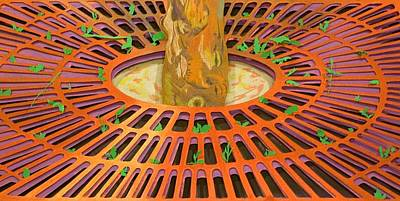 Grate Mixed Media - Rusted Tree Grate by Katherine Tomasello
