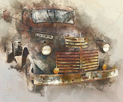 Rusted Vintage Truck - 1940s Gmc Truck Watercolor Art Print by Rayanda Arts