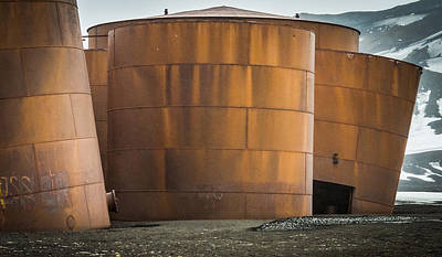 Rusted Whale Oil Tanks On Deception Island - Antarctica Photograph Art Print
