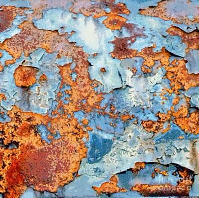 Photograph - Rusted World In Blue - Across The Seas by Janine Riley