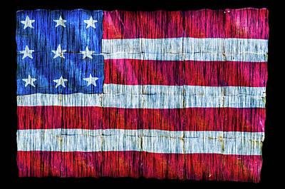 Photograph - Rustic American Flag by Debra Martz