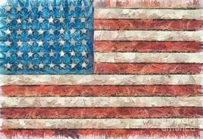 Digital Art - Rustic American Flag by Edward Fielding
