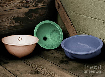 Photograph - rustic antiques - Salvage Sinks by Sharon Hudson