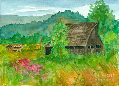 Painting - Rustic Barn And Pink Sweet Peas  by Cathie Richardson