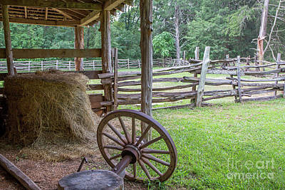 Photograph - Rustic Barn Yard With Wagon Wheel by Kevin McCarthy