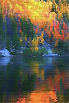 Painting - Rustic Bear Lake Colorado Autumn Reflection by Dan Sproul