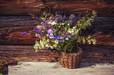 Photograph - Rustic Bouquet From The Summer Meadow by Jenny Rainbow