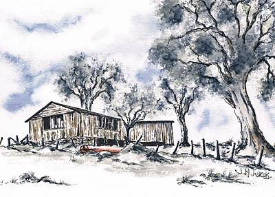 Shed Mixed Media - Rustic Bush Shack by Jane Lucas