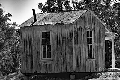 Photograph - Rustic Cabin Black And White by Ray Shrewsberry