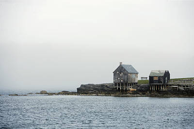 Cabins Photograph - Rustic Cabin On Stilts On Rocky Shore by Gillham Studios