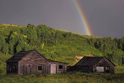 Steamboat Photograph - Rustic Cabin Rainbow by Dave Dilli
