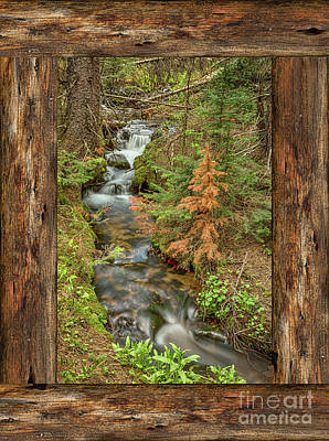 Photograph - Rustic Cabin Window Forest Creek View  by James BO Insogna