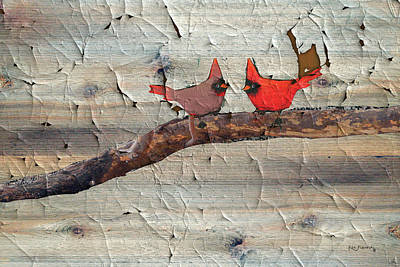 Parakeet Mixed Media - Rustic Cardinal Art by Ken Figurski