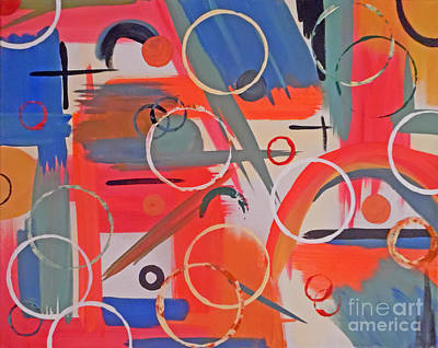 Abstract Handbag Painting - Rustic Circles by Jilian Cramb - AMothersFineArt