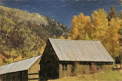 Mixed Media - Rustic Colorado Cabin In Autumn by Dan Sproul