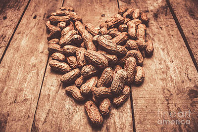 Arranges Photograph - Rustic Country Peanut Heart. Natural Foods by Jorgo Photography - Wall Art Gallery