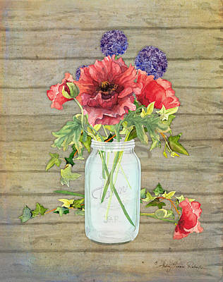 Rustic Country Red Poppy W Alium N Ivy In A Mason Jar Bouquet On Wooden Fence Art Print