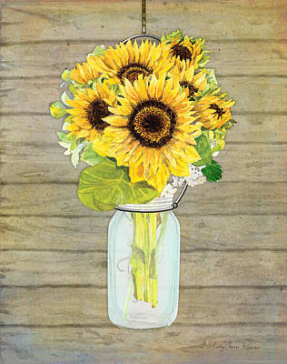 Yellow Sunflowers Painting - Rustic Country Sunflowers In Mason Jar by Audrey Jeanne Roberts