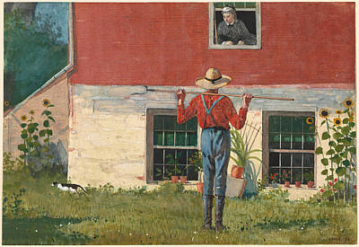 Winslow Homer Painting - Rustic Courtship. In The Garden by Winslow Homer
