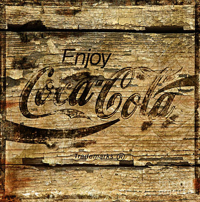 Photograph - Rustic Cracked Peeling Paint Coca Cola Sign Coke by John Stephens