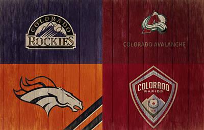 Mixed Media - Rustic Denver Sports Teams by Dan Sproul