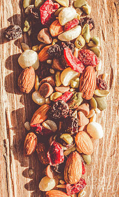 Food And Beverage Royalty-Free and Rights-Managed Images - Rustic dried fruit and nut mix by Jorgo Photography - Wall Art Gallery